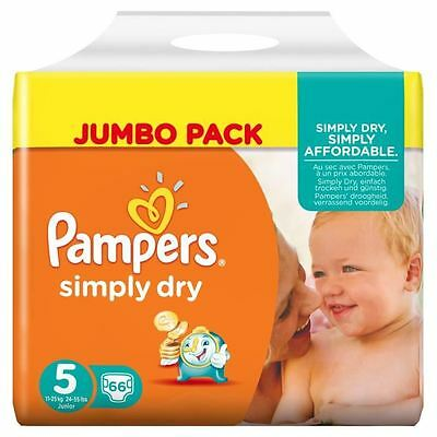 PAMPERS Simply Dry Taille 5 - 11 a 25kg - 66 couches