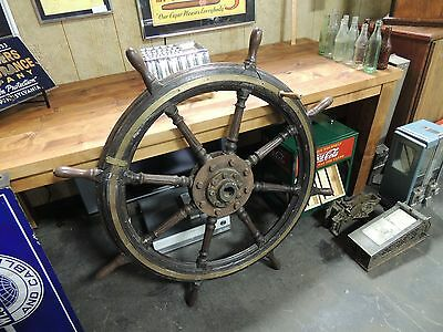 "Antique Captains Ship Wheel 46"" Diameter with Brass Walnut Wood L@@K"