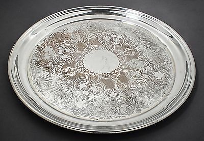 Antique silver on copper large serving platter/drinks tray chased floral scroll