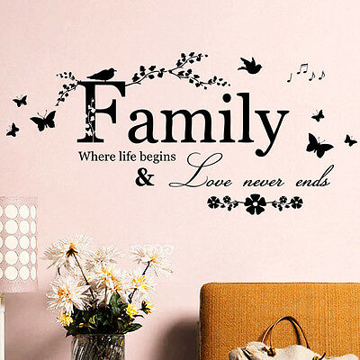 Family Flower Butterfly Art Vinyl Quote Wall Stickers Wall Decals Home Decor HOT