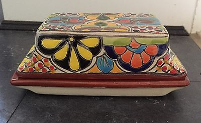 Mexican Talavera Pottery Large Butter Dish