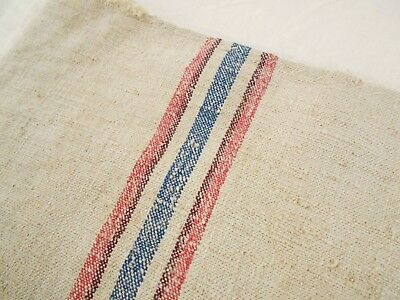 18X59 Vtg Antique RED & BLUE STRIPE French HEMP LINEN Fabric FEED SACK GRAIN BAG