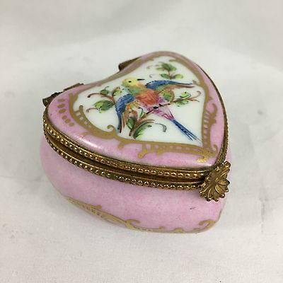 Limoges Trinket Box, Pink Heart Shaped, Hand Painted