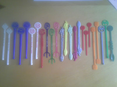 Swizzle Sticks Cocktail Stirrers Bar Collectable x 24 rare collectables.