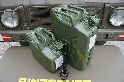 NATO Swiss Army Fuel Gas Jerry Can 10+20 Liter Set of 2 Military steel Canister