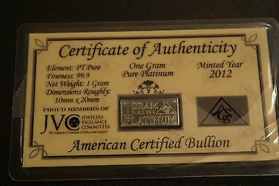 1 Gram Platinum ACB  BULLION MINTED Bar w/COA'S