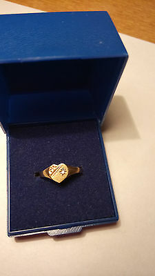 9Ct Yellow Gold Heart Shaped  Signet Ring With Schroll Engraving & Small Diamond
