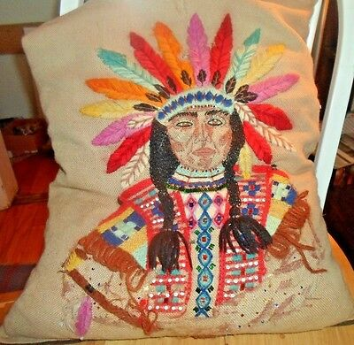 1950's Antique Hand Made Folk Art Crewel Embroidered Decorator Pillow