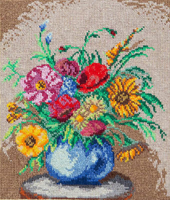 Summer Flowers Picture - Hand Made Finished Cross Stitch - Tapestry - Needlework