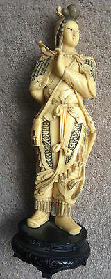 Asian Okimono Type Statue Of Warrior Woman Hand Carved 11 Inches