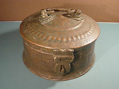 Antique INDIAN Hand Hammered Copper Chapati Bread BOX Lock Latch Decoration