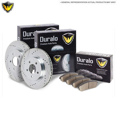Premium Performance Front Brake Kit With Ceramic Pads Drilled & Slotted Rotors