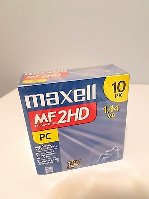 Maxell 3.5 1.44MB IBM MF2HD High Density Pre-formatted Disk (10-Pack) PC SEALED