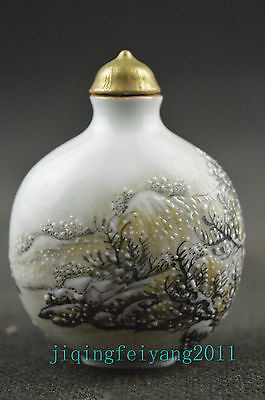 Chinese collectable porcelain handwork painting snowscape lucky snuff bottle