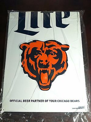 Collectible Advertising Miller Lite Beer Chicago Bears NFL Tin Bar Sign New