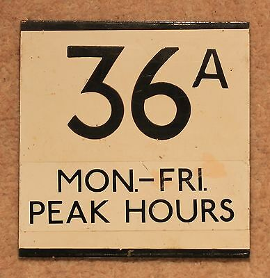 LONDON TRANSPORT E PLATE 36A Mon.-Fri. Peak Hours, Painted ALuminium