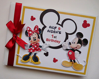 Personalised Mickey & Minnie Girl /first/1St Birthday Guest Book Any Design