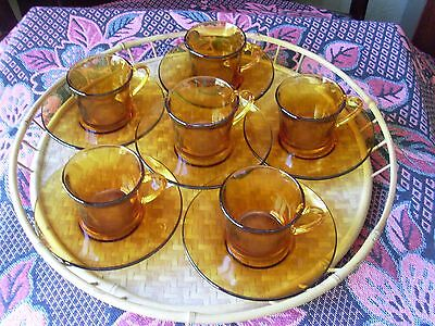 1970'S AMBER Toughened GLASS COFFEE DUOS x 6 * DURALEX FRANCE * 12 pieces