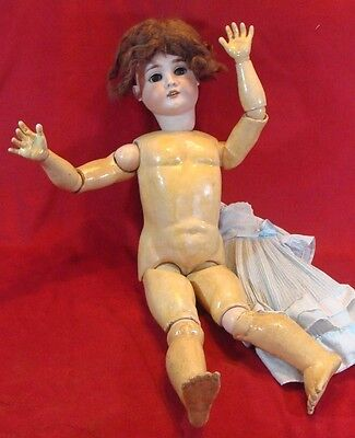 Antque 1906 A.Schoenau & Hoffmeister Bisque Headed Wooden  Doll 29 inch  # 14