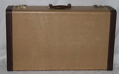 Vintage Luggage Hard Case Two-Tone Brown Tan Suitcase Pocket Inside