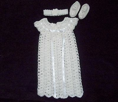 crochet  baby girl christening dress headband mary janes handmade 0-3 months