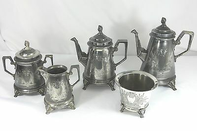 Complete Taunton Silverplate Co. Coffee and Tea set c1870 5 pieces Egyptian Rev.