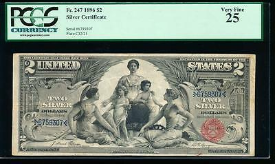 AC Fr 247 1896 $2 Silver Certificate EDUCATIONAL PCGS 25