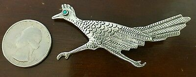 Vintage Etched Southwest Sterling Silver & Turquoise Eye Bird Brooch Pin