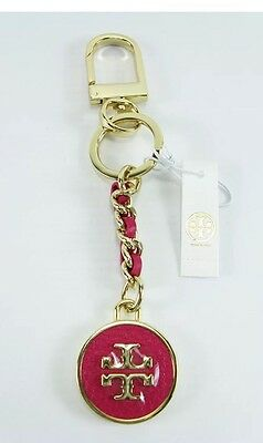 NWT! Tory Burch Mercer Leather Inlay Key Fob/ Bag Charm Gold Chain Magenta