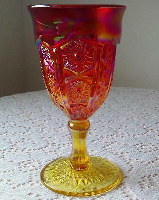 """Indiana Red Carnival Glass """"Heirloom"""" Sunset Iridescent  Goblet / Chalice"""
