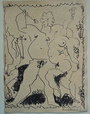 Signed Pablo Picasso art, Ink painting, Original drawing, art artwork