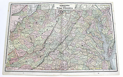 1891 Virginia And West Virginia Map With Railroads Original George Cram