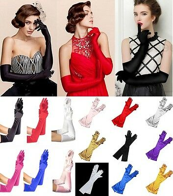 Fashion Lady Satin Long Gloves Opera Wedding Bridal Evening Party Costume Gloves