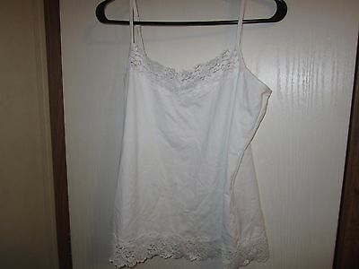 Women's White Camisole Cato's Large Lace Trimmed Nylon Blend