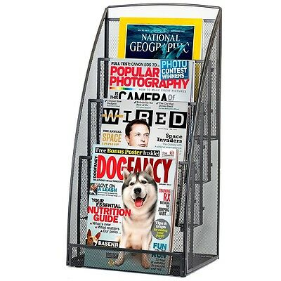 Steel Mesh Magazine Rack Literature Stand 4 Pocket Show Display Business Office