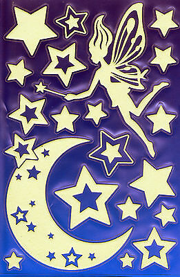 20 Glow in the Dark Stickers Pixie Stars and Moons 1 sheet HK-001