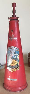 "RARE Facto Fire Extinguisher Turkey Red Pointed Top UPCYCLE 1940 30"" Lamp"