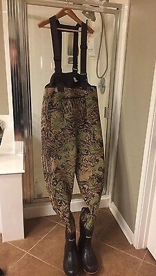 Cabelas Mens Neostretch Neoprene Chest Waders Thinsulate Boots Cami 11R