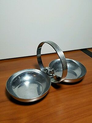 Vintage Mid Century Chase Chrome Plated Double Candy Dish with Fish Finial