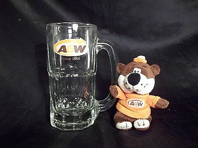 A&W Root Beer Mug 16 oz. 6.75 tall And Stuffed Toy Teddy Bear Mascot