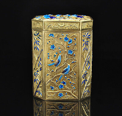 Chinese Export Silver Gold Gilt Enamel Box / Tea Caddy