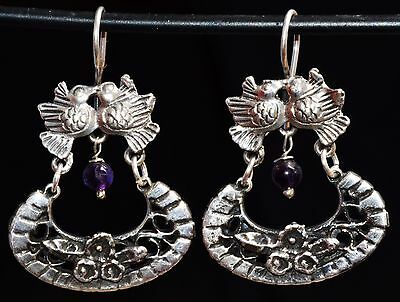 Taxco Mexican Sterling Silver Hoops Earrings Frida Kahlo Style Design Jewelry