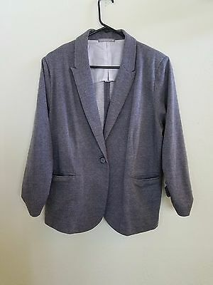 Olivia Moon Women's One Button Blazer Scrunched Sleeves Gray Size XL