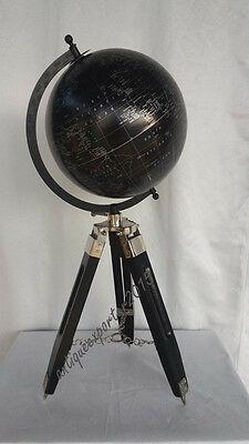 Table-Top World Map Replica Vintage Nautical table globe Nickle Finish
