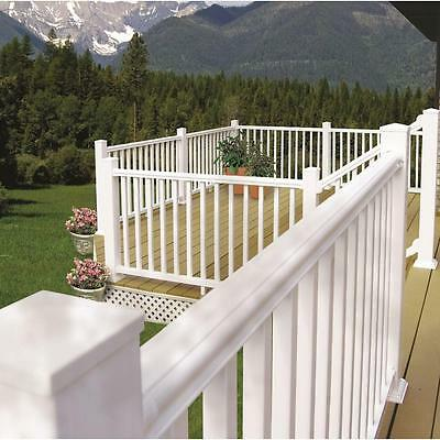 Outdoor 8ft x 36in White Vinyl Stair Hand Rail Kit Porch Deck Railings Barrier