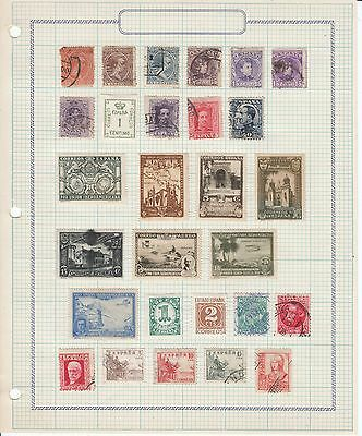 Spain - 65 stamps on 3 sheets - Used/MH