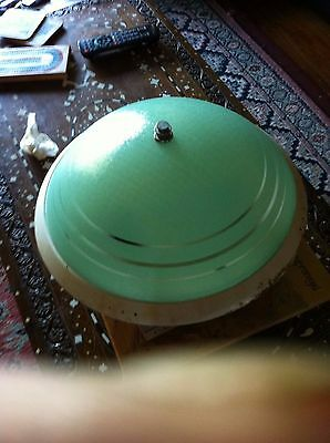 Large Vintage 1960's Retro Flying Saucer Ceiling Light -Frosted Green