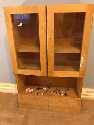 Wall Cabinet with Glass Doors & 2 Drawers