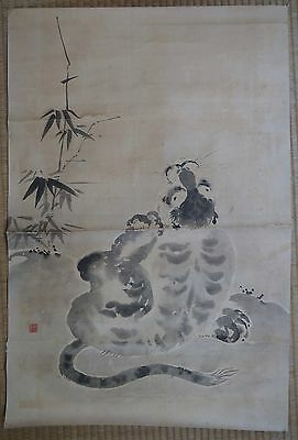 Japanese Nekotora tiger painting on paper 1800's Zen painting art Japan