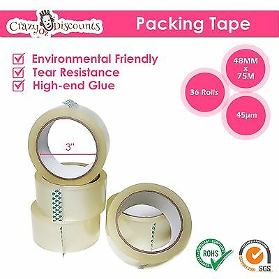36 Roll - 45 Micron Clear - Packing Packaging Sticky Tape 75 Meter x 48mm - 45UM